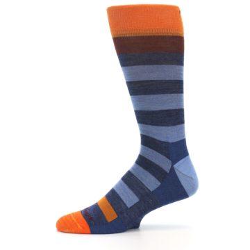 Image of Blue Rust Orange Stripe Wool Men's Socks (side-2-11)