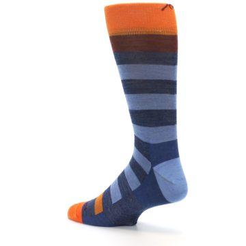 Image of Blue Rust Orange Stripe Wool Men's Socks (side-2-back-14)