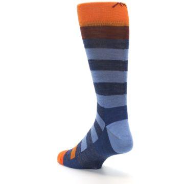 Image of Blue Rust Orange Stripe Wool Men's Socks (side-2-back-15)