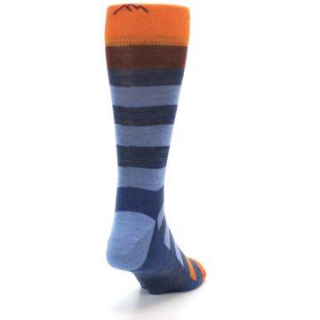 Image of Blue Rust Orange Stripe Wool Men's Socks (side-1-back-20)