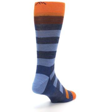 Image of Blue Rust Orange Stripe Wool Men's Socks (side-1-back-21)