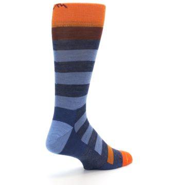 Image of Blue Rust Orange Stripe Wool Men's Socks (side-1-back-22)