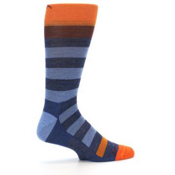 Image of Blue Rust Orange Stripe Wool Men's Socks (side-1-24)