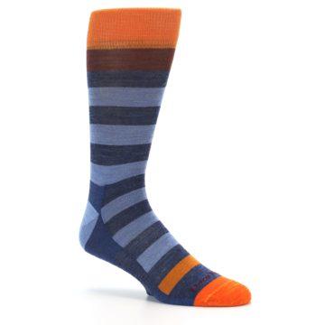 Image of Blue Rust Orange Stripe Wool Men's Socks (side-1-26)