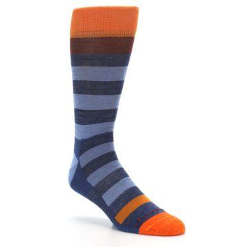 Image of Blue Rust Orange Stripe Wool Men's Socks (side-1-27)
