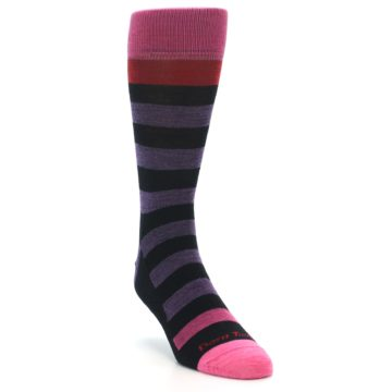 Image of Purple Black Pink Stripe Wool Men's Socks (side-1-front-02)