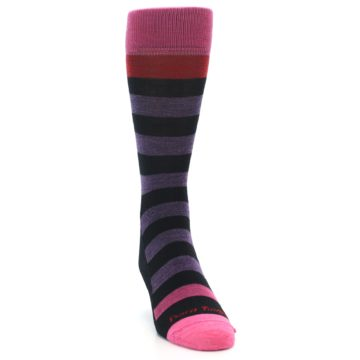 Image of Purple Black Pink Stripe Wool Men's Socks (side-1-front-03)