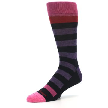 Image of Purple Black Pink Stripe Wool Men's Socks (side-2-09)