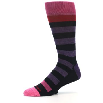 Image of Purple Black Pink Stripe Wool Men's Socks (side-2-10)