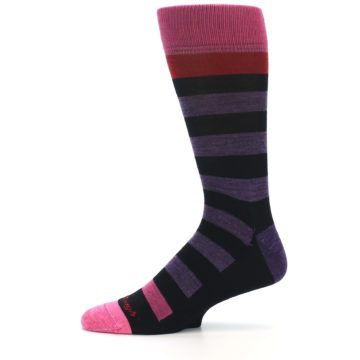 Image of Purple Black Pink Stripe Wool Men's Socks (side-2-11)