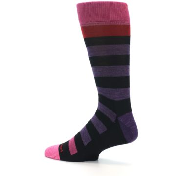 Image of Purple Black Pink Stripe Wool Men's Socks (side-2-13)