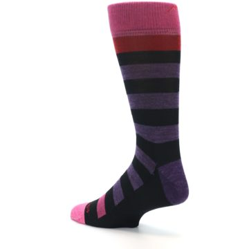 Image of Purple Black Pink Stripe Wool Men's Socks (side-2-back-14)