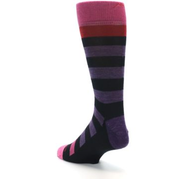 Image of Purple Black Pink Stripe Wool Men's Socks (side-2-back-15)