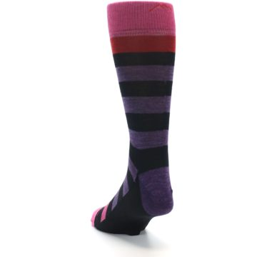 Image of Purple Black Pink Stripe Wool Men's Socks (side-2-back-16)