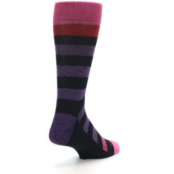 Image of Purple Black Pink Stripe Wool Men's Socks (side-1-back-21)