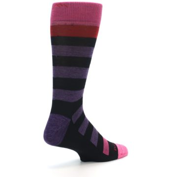 Image of Purple Black Pink Stripe Wool Men's Socks (side-1-back-22)
