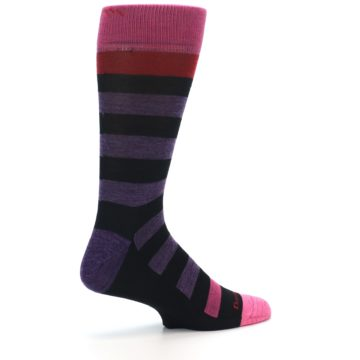 Image of Purple Black Pink Stripe Wool Men's Socks (side-1-23)