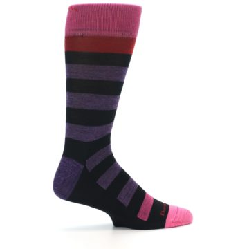 Image of Purple Black Pink Stripe Wool Men's Socks (side-1-24)