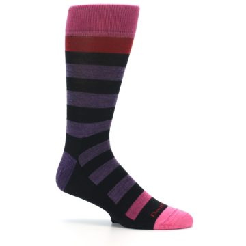 Image of Purple Black Pink Stripe Wool Men's Socks (side-1-25)