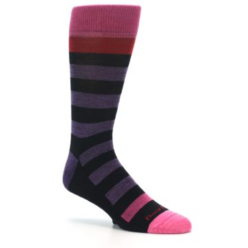 Image of Purple Black Pink Stripe Wool Men's Socks (side-1-26)