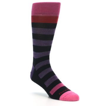 Image of Purple Black Pink Stripe Wool Men's Socks (side-1-27)