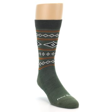 Image of Green Santa Fe Stripe Wool Men's Socks (side-1-front-02)
