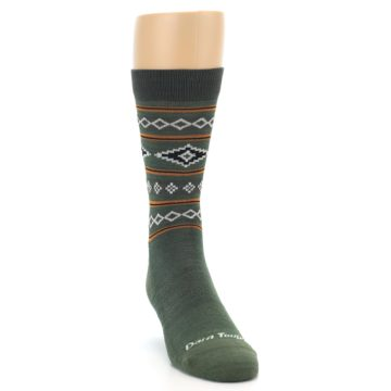 Image of Green Santa Fe Stripe Wool Men's Socks (side-1-front-03)