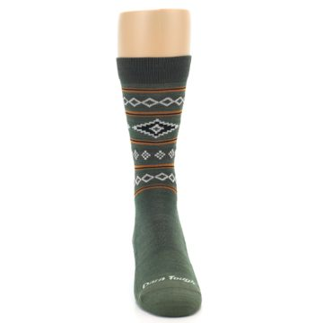 Image of Green Santa Fe Stripe Wool Men's Socks (front-04)