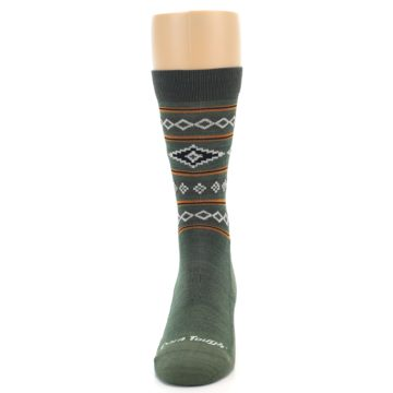 Image of Green Santa Fe Stripe Wool Men's Socks (front-05)