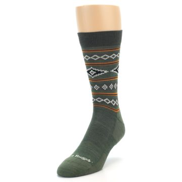 Image of Green Santa Fe Stripe Wool Men's Socks (side-2-front-07)