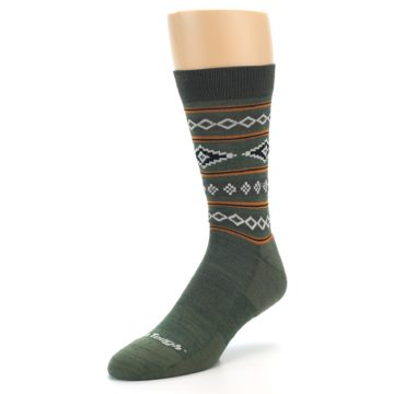 Image of Green Santa Fe Stripe Wool Men's Socks (side-2-front-08)