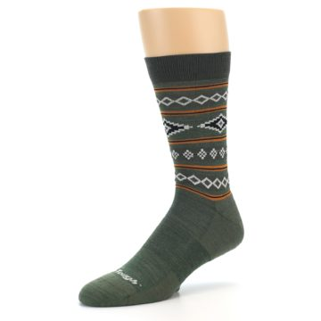 Image of Green Santa Fe Stripe Wool Men's Socks (side-2-09)