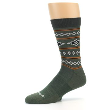 Image of Green Santa Fe Stripe Wool Men's Socks (side-2-10)