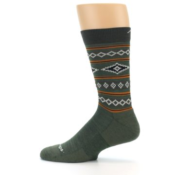 Image of Green Santa Fe Stripe Wool Men's Socks (side-2-12)
