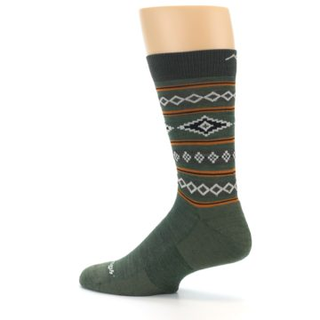 Image of Green Santa Fe Stripe Wool Men's Socks (side-2-13)