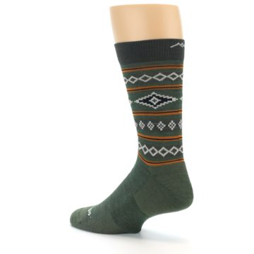 Image of Green Santa Fe Stripe Wool Men's Socks (side-2-back-14)