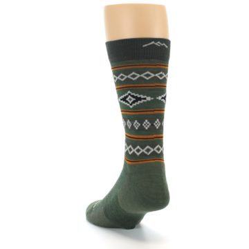 Image of Green Santa Fe Stripe Wool Men's Socks (side-2-back-16)