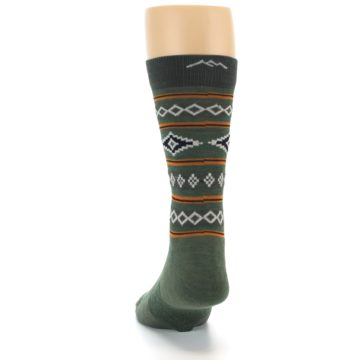 Image of Green Santa Fe Stripe Wool Men's Socks (back-17)