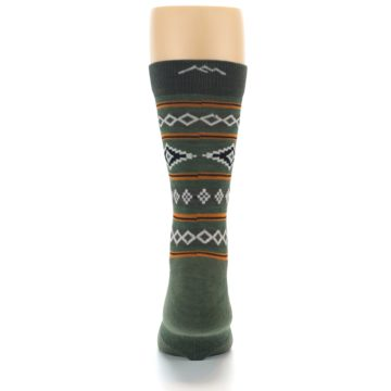 Image of Green Santa Fe Stripe Wool Men's Socks (back-18)