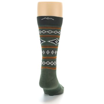 Image of Green Santa Fe Stripe Wool Men's Socks (back-19)