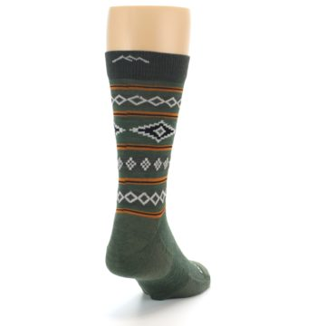 Image of Green Santa Fe Stripe Wool Men's Socks (side-1-back-20)