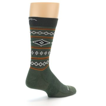 Image of Green Santa Fe Stripe Wool Men's Socks (side-1-back-22)