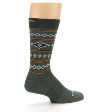 Image of Green Santa Fe Stripe Wool Men's Socks (side-1-23)