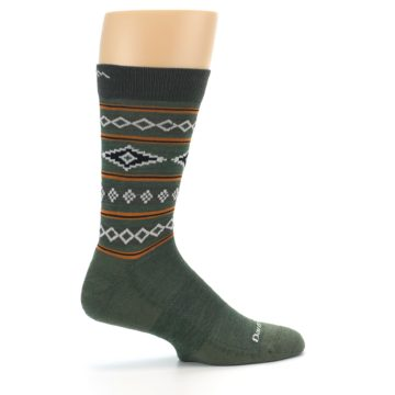 Image of Green Santa Fe Stripe Wool Men's Socks (side-1-24)