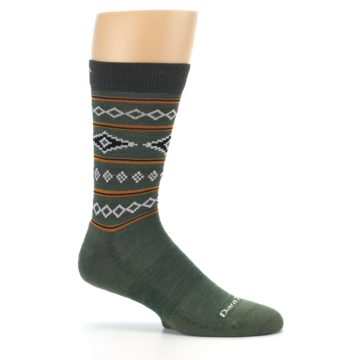 Image of Green Santa Fe Stripe Wool Men's Socks (side-1-25)
