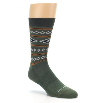 Image of Green Santa Fe Stripe Wool Men's Socks (side-1-27)