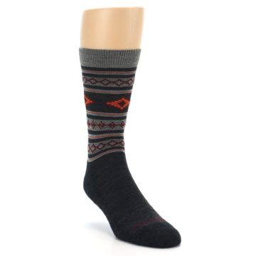 Image of Charcoal Orange Santa Fe Stripe Wool Men's Socks (side-1-front-02)