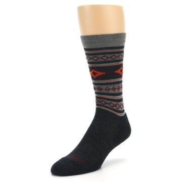 Image of Charcoal Orange Santa Fe Stripe Wool Men's Socks (side-2-front-08)