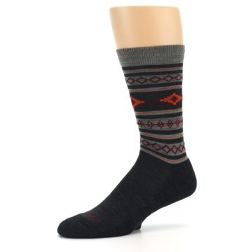Image of Charcoal Orange Santa Fe Stripe Wool Men's Socks (side-2-10)