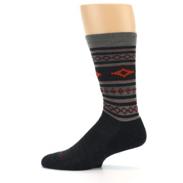 Image of Charcoal Orange Santa Fe Stripe Wool Men's Socks (side-2-12)
